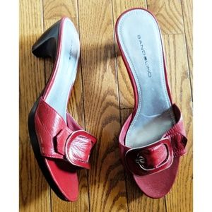 Women's Bandolino Red Leather Buckle, Slide Heels
